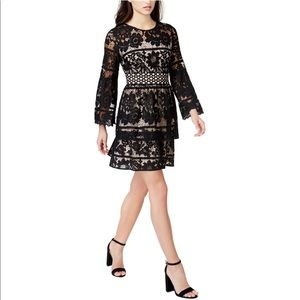 Kensie Tiered Lace A-Line Dress NWT